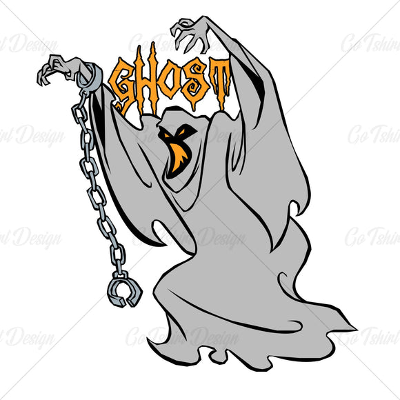 Halloween Handcuffed Ghost Horror T Shirt Design