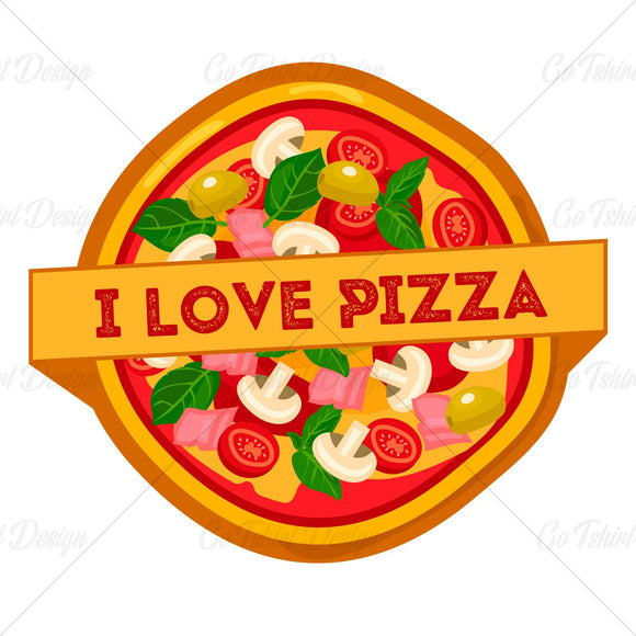 I Love Pizza Food T Shirt Design