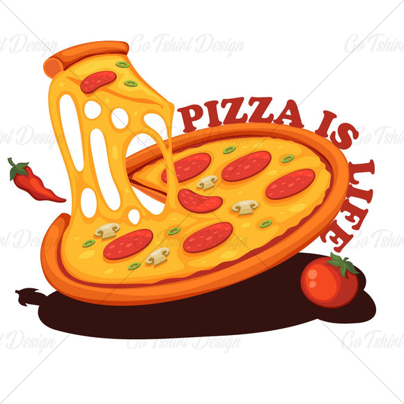 Pizza Is Life Food T Shirt Design