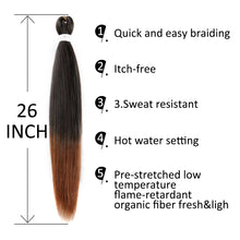 Load image into Gallery viewer, Pre-stretched EZ Braid Professional Braiding Hair Extension Ombre Yaki Synthetic Hair (#1B/30)