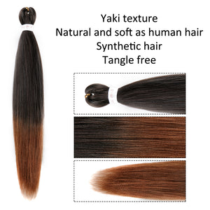 Pre-stretched EZ Braid Professional Braiding Hair Extension Ombre Yaki Synthetic Hair (#1B/30)