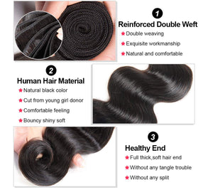Body Wave Human Hair 3 Bundles with 4*4 Closure Natural Black Color