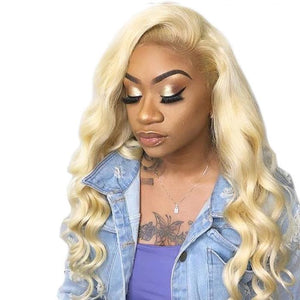#613 13x4 HD Lace Front Wigs Body Wave Human Hair Blonde Wigs