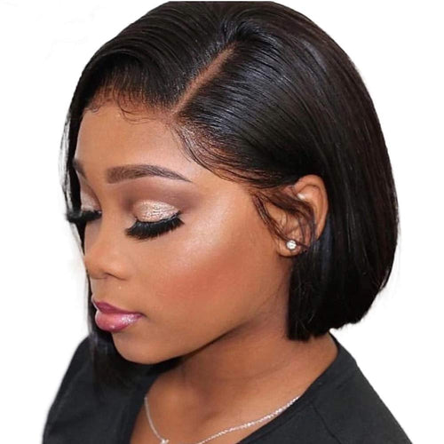 Short Straight Bob Wigs 13x4 Lace Front Human Hair Wigs Natural Black
