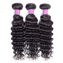 Load image into Gallery viewer, Deep Wave 3 Bundles with Free Part Lace Closure Human Hair Bubdles Natural Color