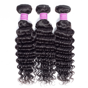 Deep Wave 3 Bundles with Free Part Lace Closure Human Hair Bubdles Natural Color