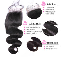 Load image into Gallery viewer, Body Wave Human Hair 3 Bundles with 4*4 Closure Natural Black Color