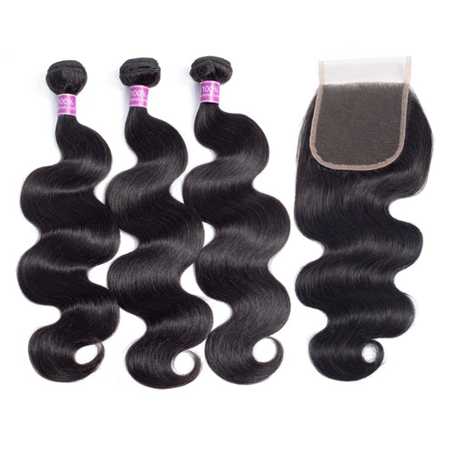 Body Wave Human Hair 3 Bundles with Closure Natural Black Color