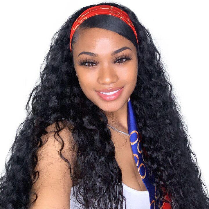 Riverwood Water Wave Headband Wigs Brazilian Glueless Human Hair Wigs Natural Color