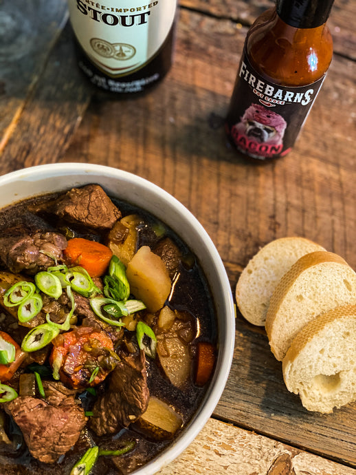 IRISH STEW À LA STOUT ET FIREBARNS BACON
