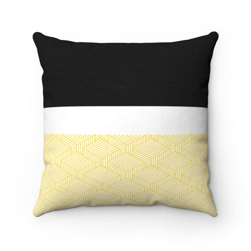 Gold Quilt Pattern Polyester Throw Pillow Cover - Pillow Treat