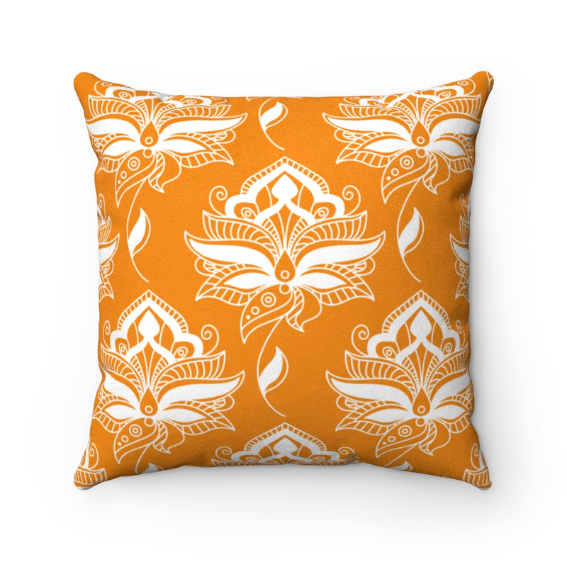 Terica Orange Flower Faux Suede Throw Pillow & Insert-Pillow Treat