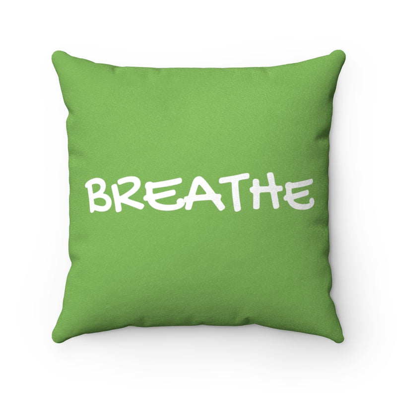 Breathe Nature Green Faux Suede Throw Pillow Cover-Pillow Treat
