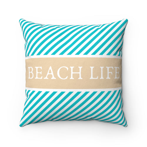 Beach Life Striped Aqua Blue Faux Suede Throw Pillow Cover - Pillow Treat