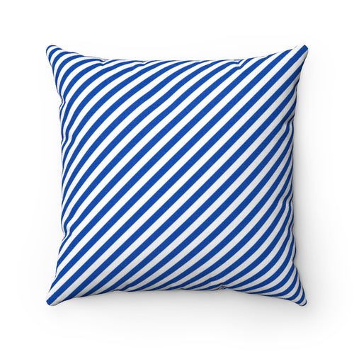 Beach Life Striped Cobalt Faux Suede Throw Pillow Cover - Pillow Treat