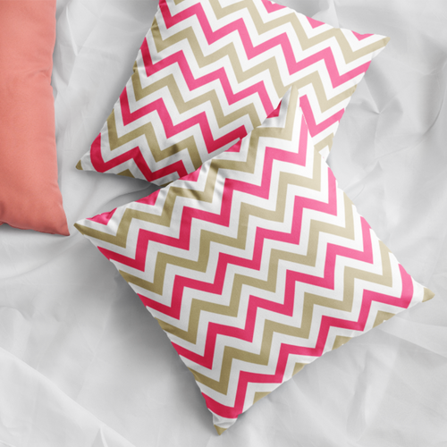 Chevron Coral Faux Suede Pillow Cover - Pillow Treat