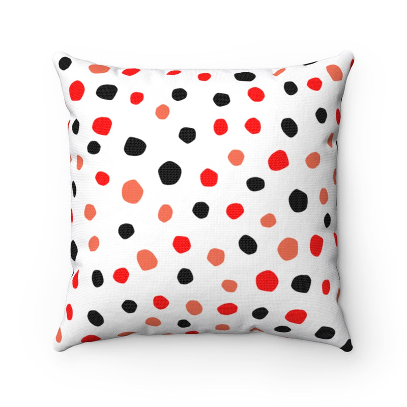 Speckled Red Polyester Throw Pillow & Insert-Pillow Treat