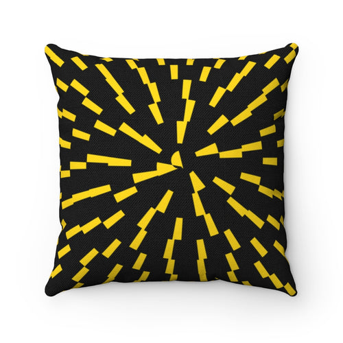 Black & Gold Spiral Polyester Throw Pillow Cover - Pillow Treat