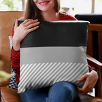 Striped Grayscale Polyester Throw Pillow Cover-Pillow Treat