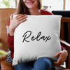 Relax Simple White Faux Suede Throw Pillow Cover-Pillow Treat