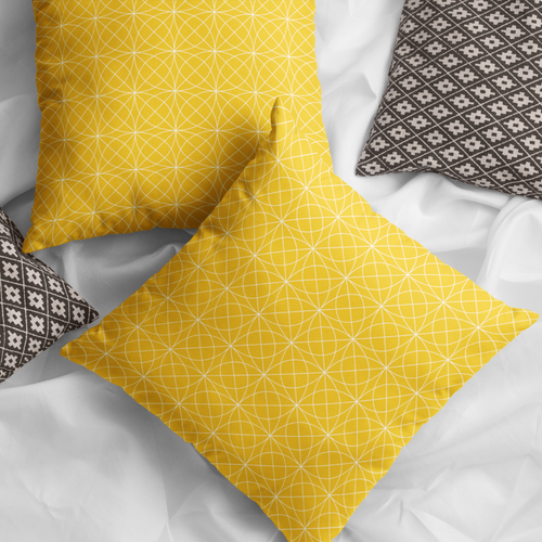 Corva Yellow Faux Suede Throw Pillow Cover - Pillow Treat