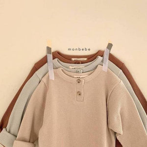 French Waffle-Knit Henley Top