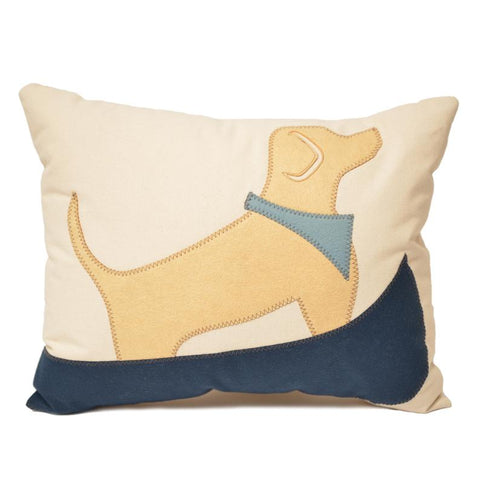 Yellow Lab, Blue Canoe Pillow 18x21