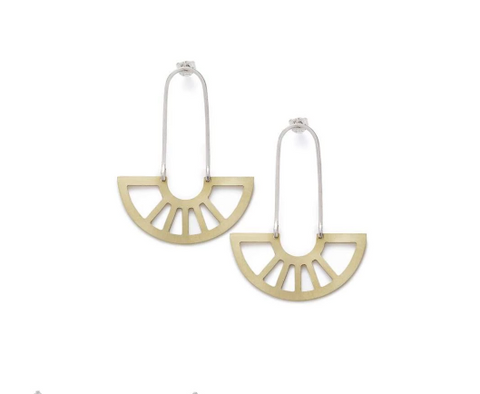 Coro Geometric Earrings - Brass