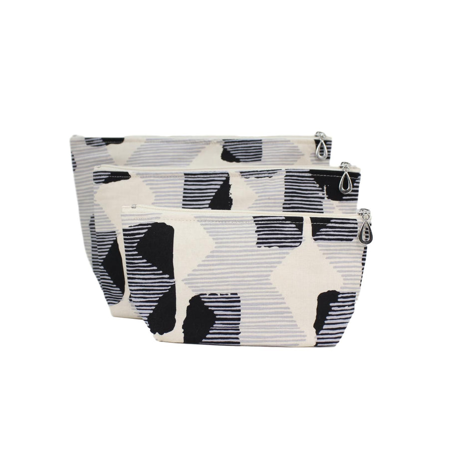 Set of 3 Cosmetic Bags - Black and Grey Abstract