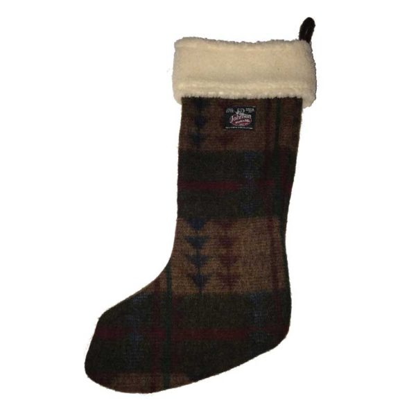 Johnson Woolen Mills Stocking - Taupe Pattern