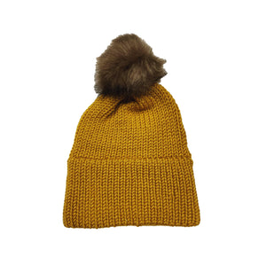 Made in Vermont Fuzzy Pom Hat - Mustard
