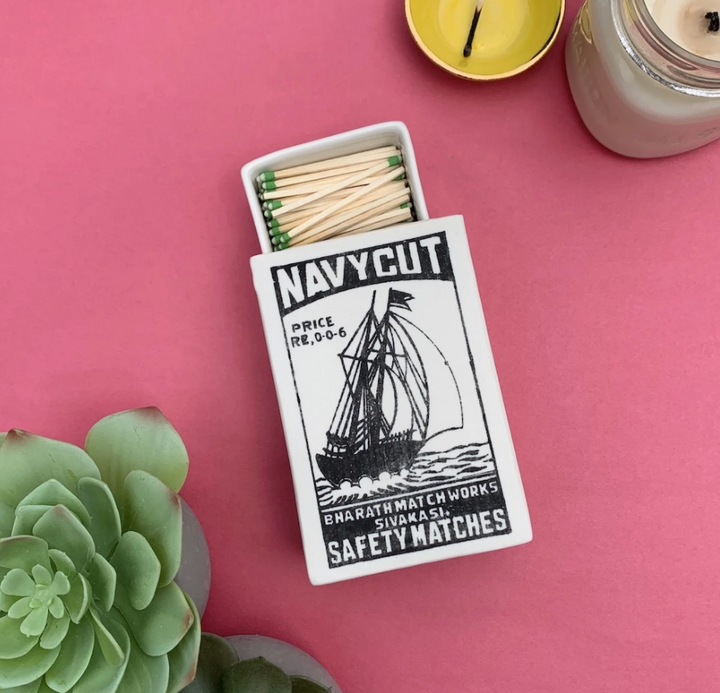 Ceramic Vintage Matchbox - Navy