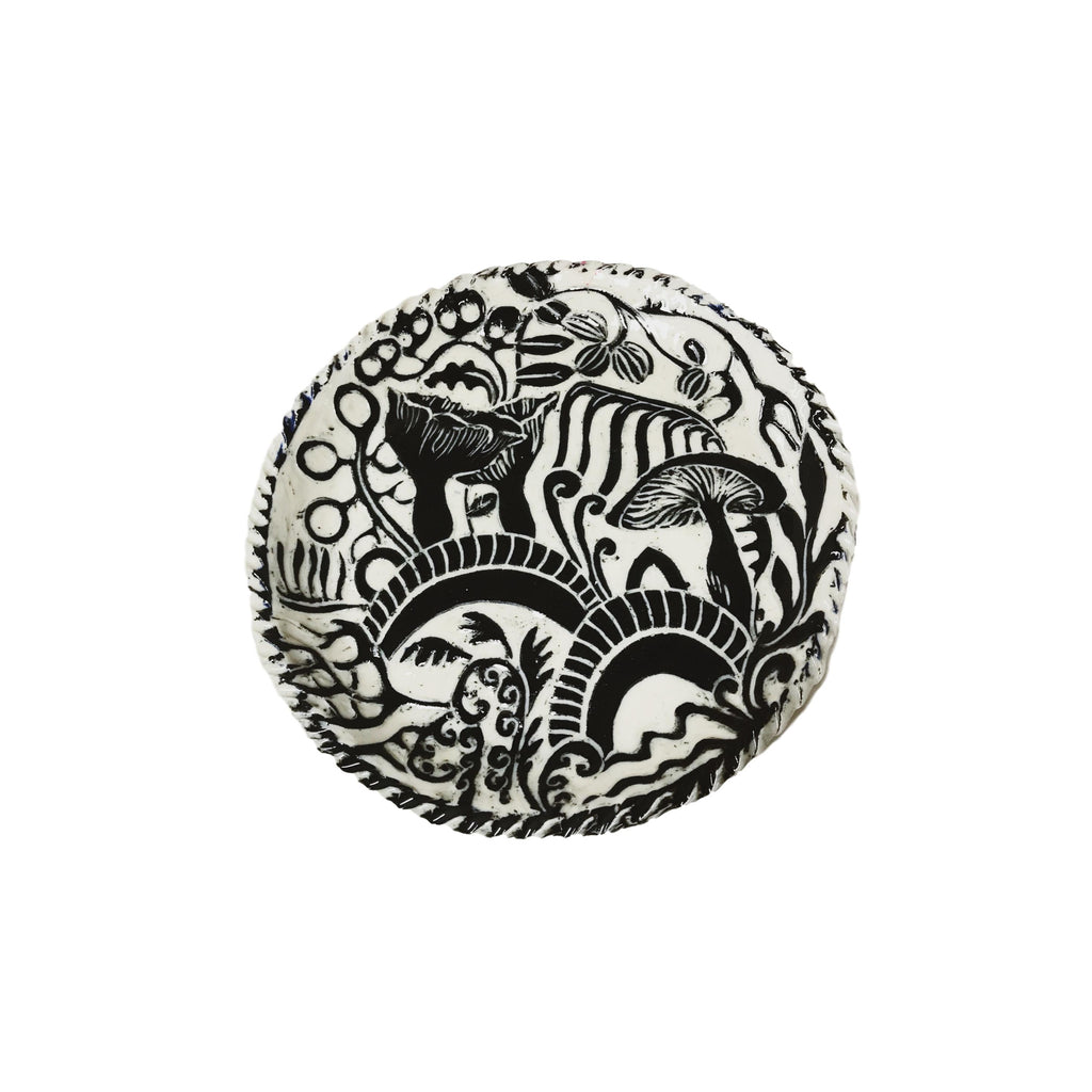 Handcarved Ceramic Round Tray - Black