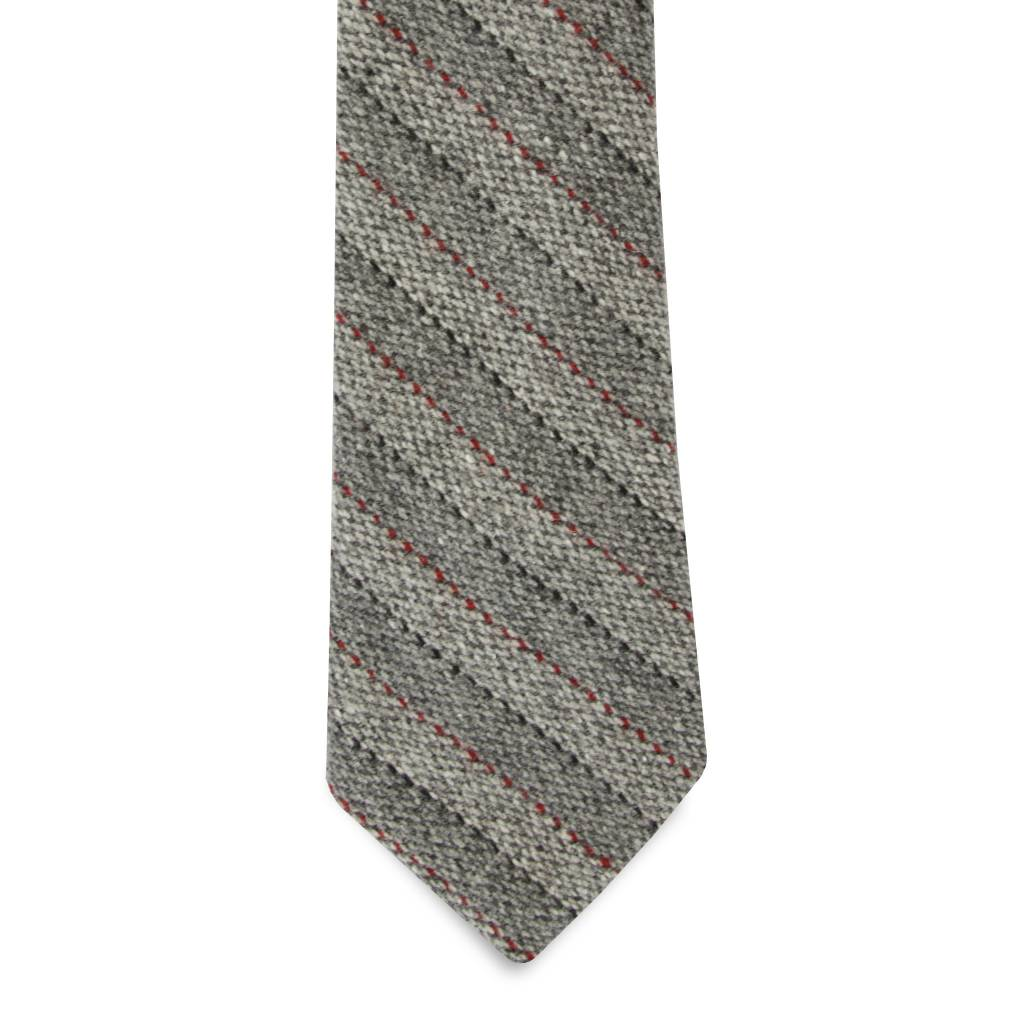 The Gallego - Grey Stripe Wool Tie