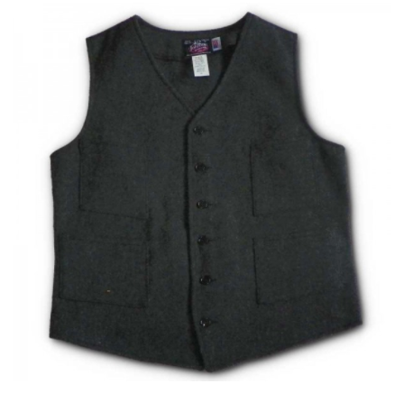 Grey Herringbone Wool Vest