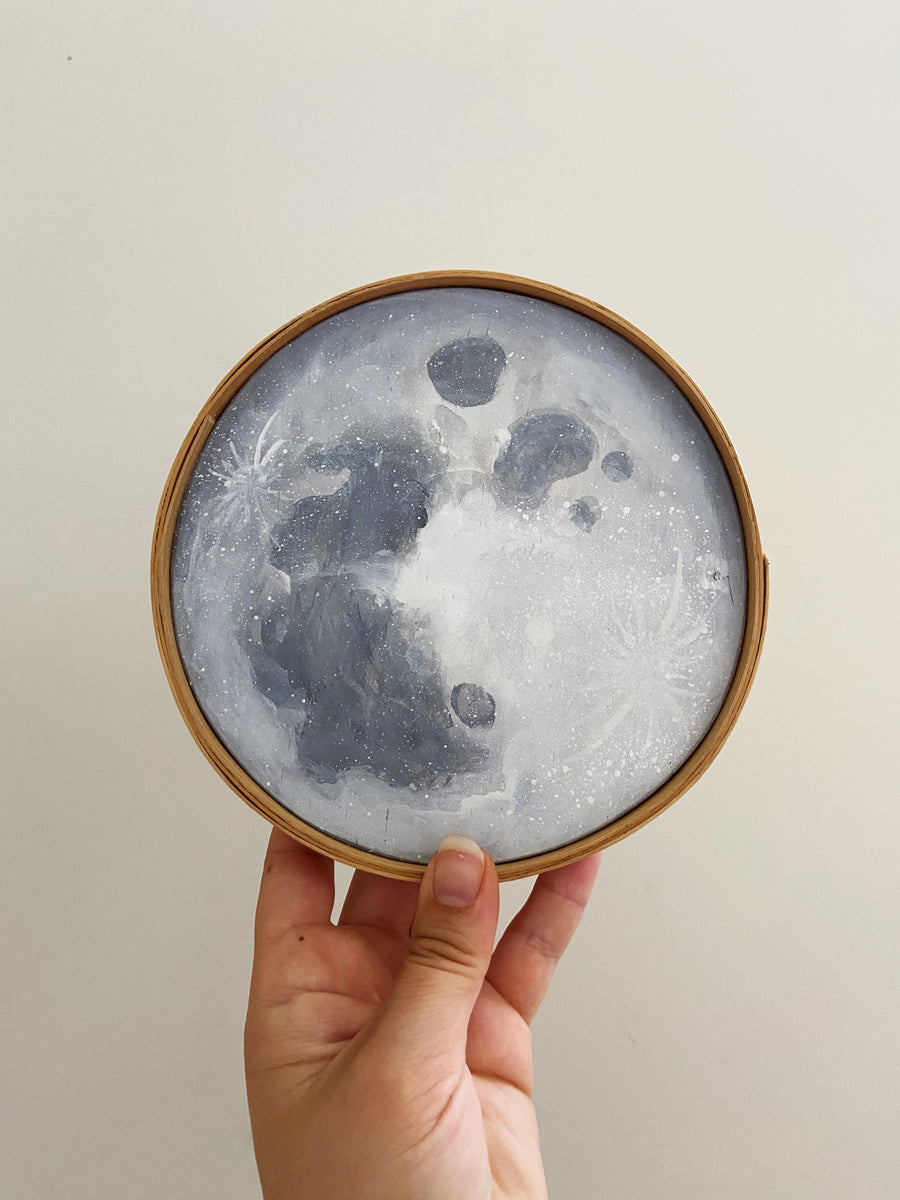 Hannah Sachse Hand Painted Moon with Ash Frame 6""