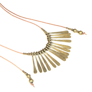 Tulum Leather and Brass Necklace