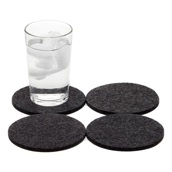 Round Charcoal Felt Coasters in Charcoal