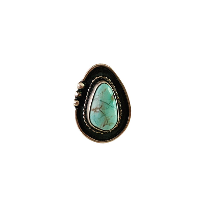 One of a Kind Medium Turquoise Ring - Light Dot Left