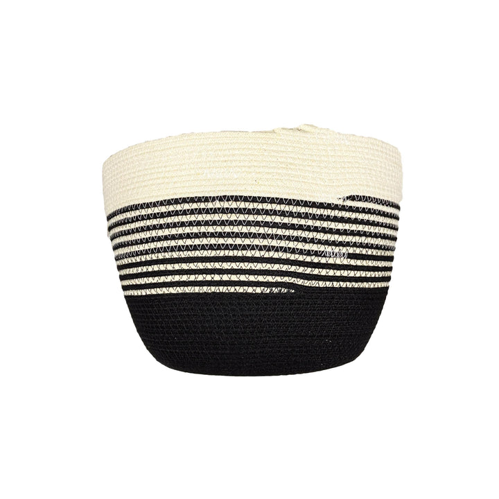 Medium Coiled Rope Bucket - Half Stripe