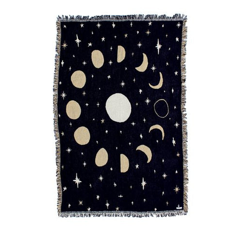 Moon Phases Cotton Blanket - 44x68