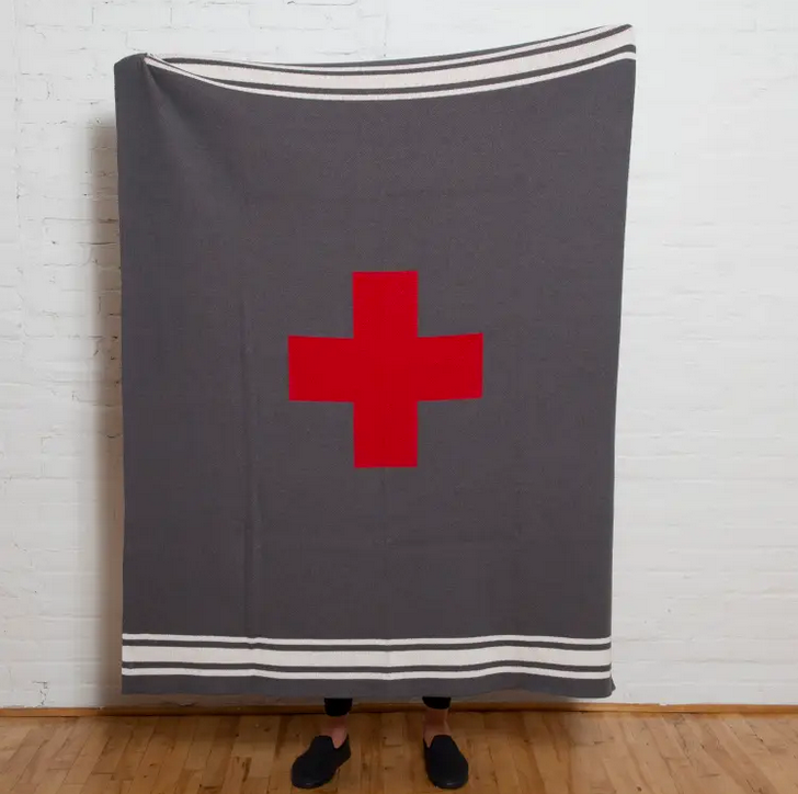 Eco Swiss Cross With Stripes Throw - Smoke