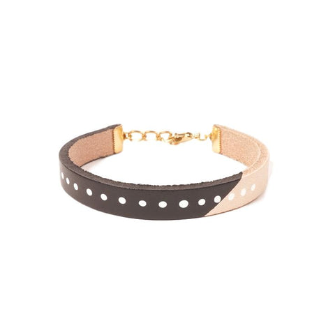 Painted Leather Bracelet in Black
