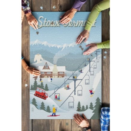 Stowe, Vermont Retro Ski Resort Puzzle - 1000 Piece