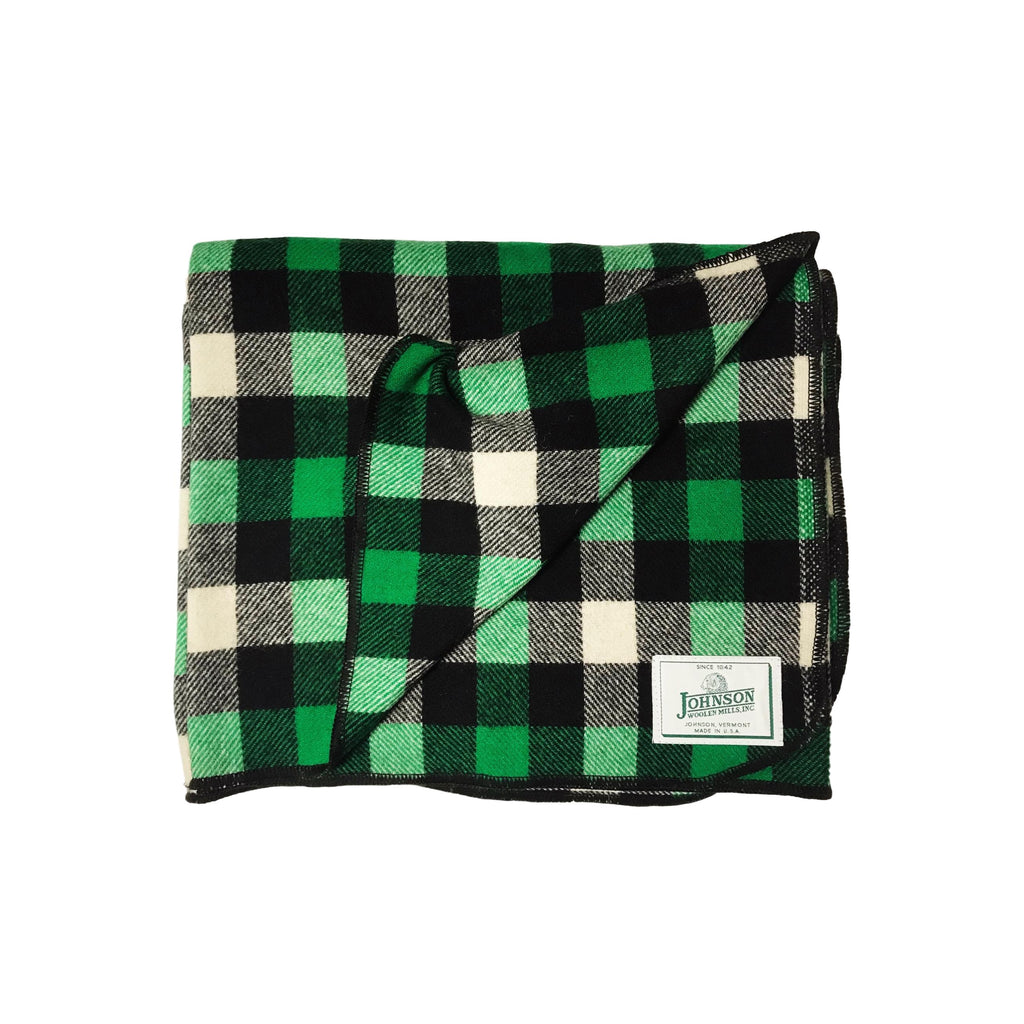 Johnson Woolen Mills Norris Throw - Green/White/Black Check