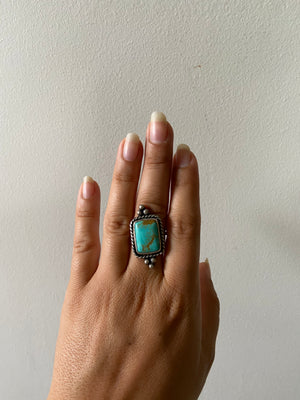 One of a Kind Large Turquoise Ring - Square