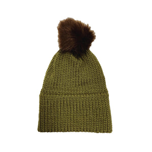 Made in Vermont Fuzzy Pom Hat - Harvest Green