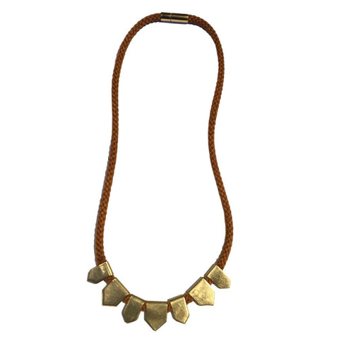 Tabs Pumpkin Thread Brass Necklace