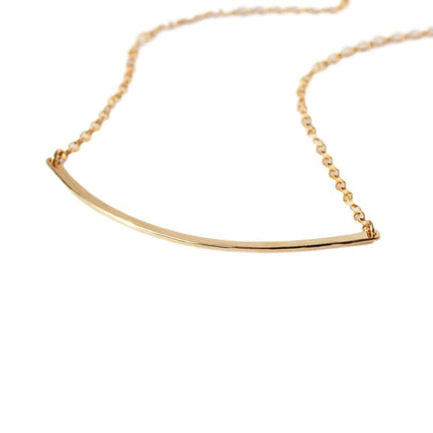 Dainty 14k Gold Curved Bar Necklace
