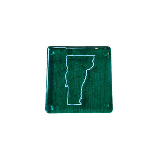 Vermont Fused Glass Coaster - White on Clear Green